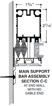 main support bar assembly at end wall with no gable end